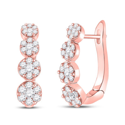 14kt Rose Gold Womens Round Diamond Flower Cluster Hoop Earrings 1-1/4 Cttw