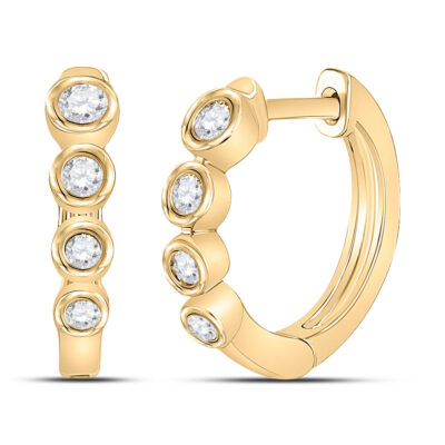 14kt Yellow Gold Womens Round Diamond Fashion Hoop Earrings 1/4 Cttw