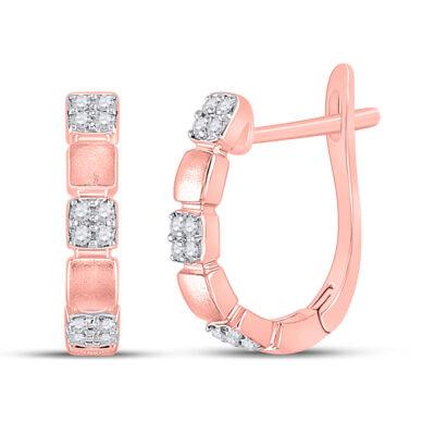 14kt Rose Gold Womens Round Diamond Hoop Earrings 1/10 Cttw