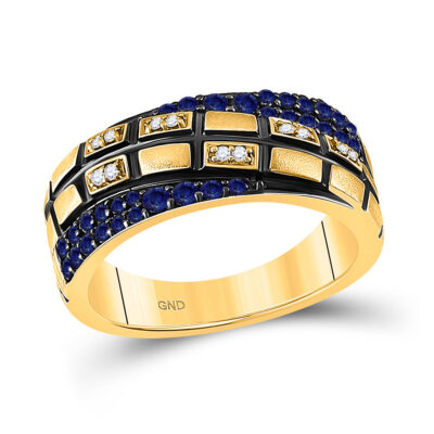14kt Yellow Gold Womens Round Blue Sapphire Diamond Band Ring 5/8 Cttw
