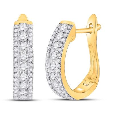 14kt Yellow Gold Womens Round Diamond Hoop Earrings 7/8 Cttw