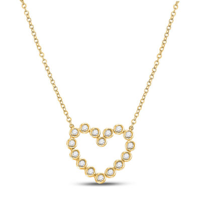 14kt Yellow Gold Womens Round Diamond Outline Heart Necklace 1/4 Cttw