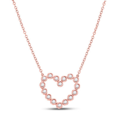 14kt Rose Gold Womens Round Diamond Outline Heart Necklace 1/4 Cttw