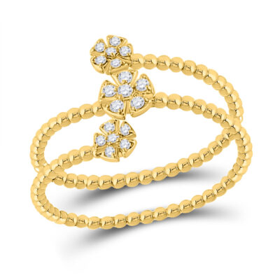 10kt Yellow Gold Womens Round Diamond Fashion Flower Cluster Ring 1/8 Cttw