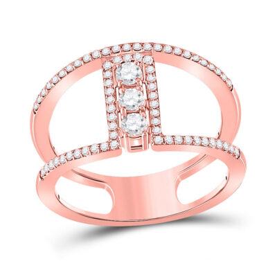 10kt Rose Gold Womens Round Diamond Fashion 3-stone Ring 3/8 Cttw