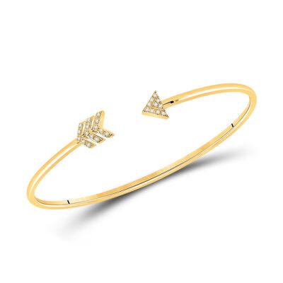 10kt Yellow Gold Womens Round Diamond Arrow Bangle Bracelet 1/10 Cttw
