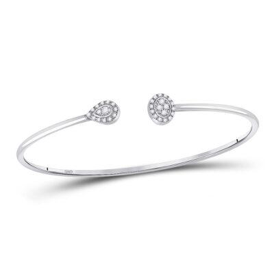 10kt White Gold Womens Round Diamond Cluster Bangle Bracelet 1/5 Cttw