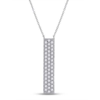 10kt White Gold Womens Round Diamond Vertical Bar Necklace 1/4 Cttw