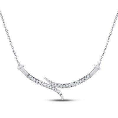 10kt White Gold Womens Round Diamond Curved Bar Necklace 1/5 Cttw