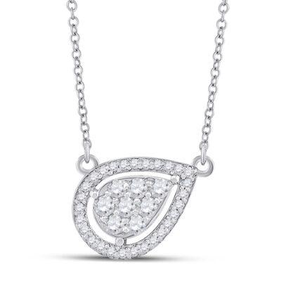 10kt White Gold Womens Round Diamond Teardrop Necklace 1/4 Cttw