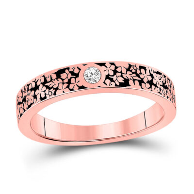 14kt Rose Gold Womens Round Diamond Floral Anniversary Ring 1/20 Cttw