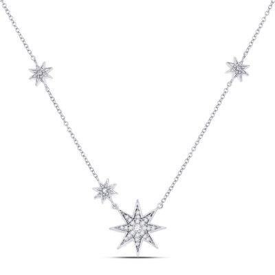 14kt White Gold Womens Round Diamond Starburst Fashion Necklace 1/5 Cttw