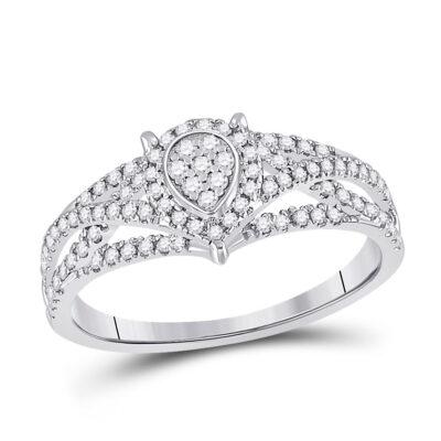 10kt White Gold Womens Round Diamond Teardrop Cluster Ring 1/2 Cttw
