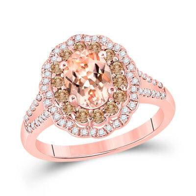 14kt Rose Gold Womens Oval Morganite Diamond Solitaire Ring 1-1/2 Cttw