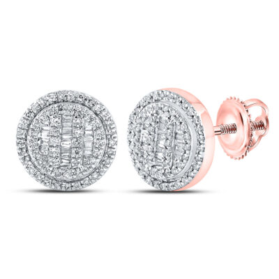 10kt Rose Gold Mens Baguette Diamond Circle Cluster Earrings 1/2 Cttw