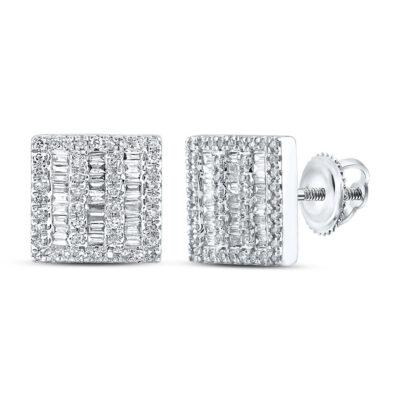 10kt White Gold Mens Baguette Diamond Square Earrings 1/2 Cttw