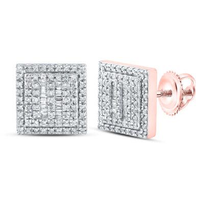 10kt Rose Gold Mens Baguette Diamond Square Earrings 1/2 Cttw