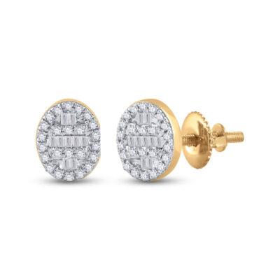 10kt Yellow Gold Womens Baguette Diamond Oval Cluster Earrings 1/4 Cttw