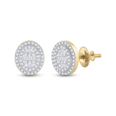 10kt Yellow Gold Womens Baguette Diamond Oval Cluster Earrings 3/8 Cttw