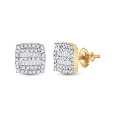 10kt Yellow Gold Womens Baguette Diamond Square Earrings 1/3 Cttw