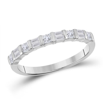14kt White Gold Womens Baguette Princess Diamond Band Ring 1/2 Cttw