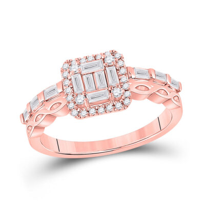 14kt Rose Gold Womens Baguette Diamond Square Cluster Ring 5/8 Cttw