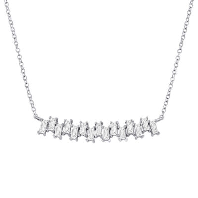 14kt White Gold Womens Baguette Diamond Curved Bar Necklace 5/8 Cttw