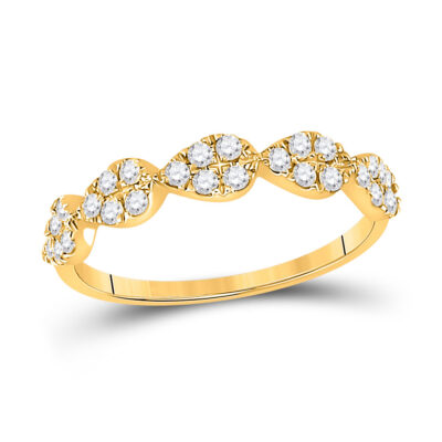 10kt Yellow Gold Womens Round Diamond Teardrop Stackable Band Ring 1/3 Cttw