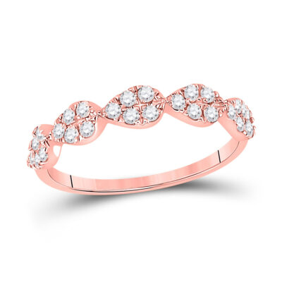 10kt Rose Gold Womens Round Diamond Teardrop Stackable Band Ring 1/3 Cttw