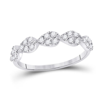 10kt White Gold Womens Round Diamond Teardrop Stackable Band Ring 1/3 Cttw