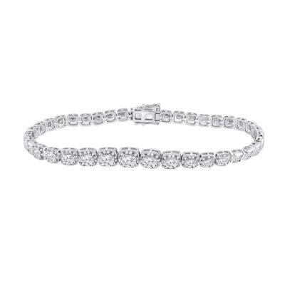 14kt White Gold Womens Round Diamond Tennis Bracelet 3-3/4 Cttw
