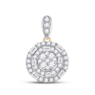 14kt Yellow Gold Womens Baguette Diamond Circle Cluster Pendant 3/8 Cttw