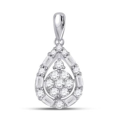 14kt White Gold Womens Round Diamond Teardrop Cluster Pendant 1/2 Cttw