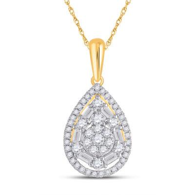 14kt Yellow Gold Womens Baguette Diamond Teardrop Pendant 1/2 Cttw