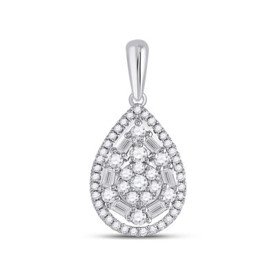 14kt White Gold Womens Baguette Diamond Teardrop Pendant 1/2 Cttw