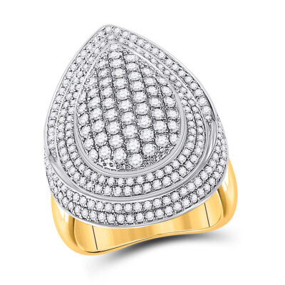 14kt Yellow Gold Womens Round Diamond Teardrop Cluster Ring 2-1/5 Cttw