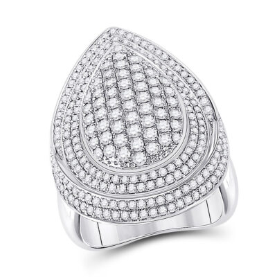 14kt White Gold Womens Round Diamond Fashion Cluster Pear Ring 2-1/5 Cttw