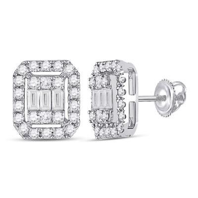 14kt White Gold Womens Baguette Diamond Rectangle Cluster Earrings 1/2 Cttw