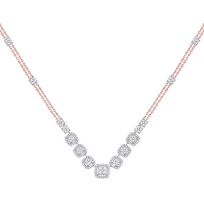 14kt Two-tone Gold Womens Round Diamond Cluster Necklace 1-1/2 Cttw