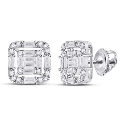 14kt White Gold Womens Baguette Diamond Cluster Fashion Earrings 5/8 Cttw