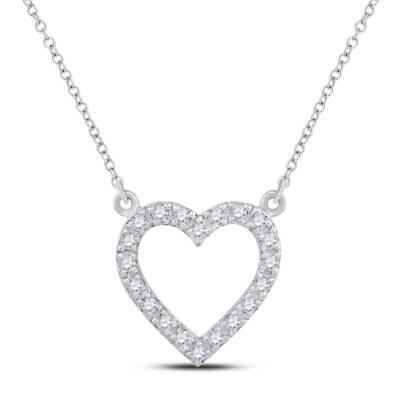 10kt White Gold Womens Round Diamond Heart Necklace 1/12 Cttw