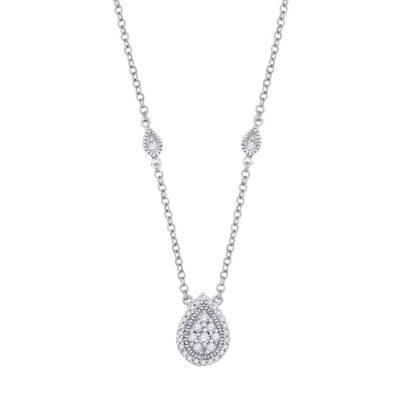 10kt White Gold Womens Round Diamond Teardrop Necklace 1/5 Cttw