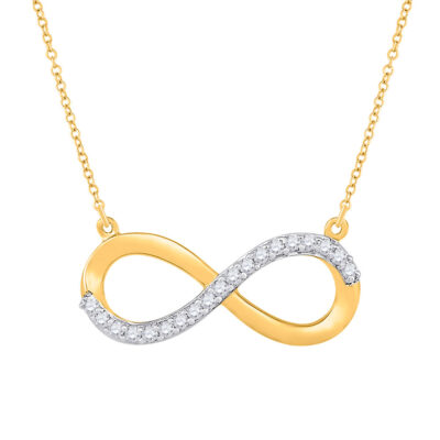 10kt Yellow Gold Womens Round Diamond Infinity Necklace 1/20 Cttw
