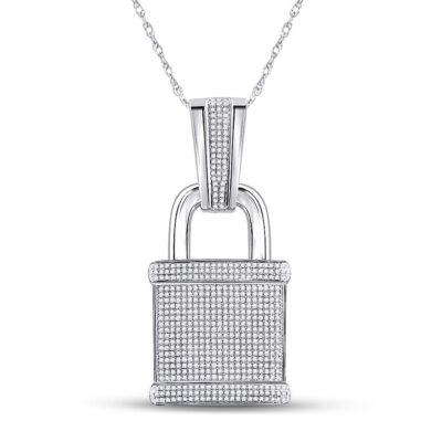 10kt White Gold Mens Round Diamond Lock Padlock Charm Pendant 1-1/2 Cttw