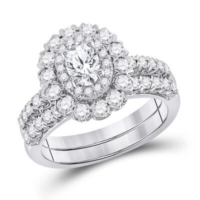 14kt White Gold Oval Diamond Bridal Wedding Ring Band Set 1-5/8 Cttw