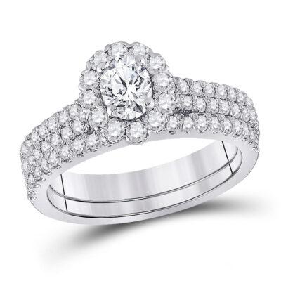 14kt White Gold Oval Diamond Bridal Wedding Ring Band Set 1-1/2 Cttw