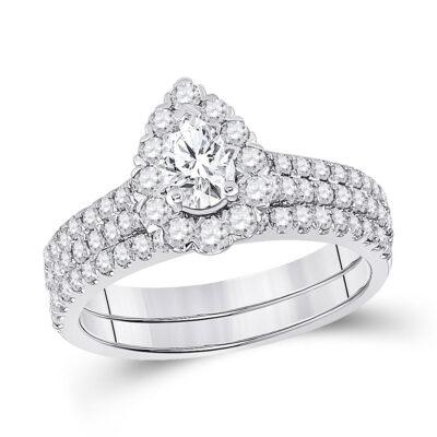 14kt White Gold Pear Diamond Bridal Wedding Ring Band Set 1-1/2 Cttw