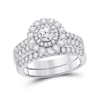 14kt White Gold Round Diamond Bridal Wedding Ring Band Set 1-3/8 Cttw