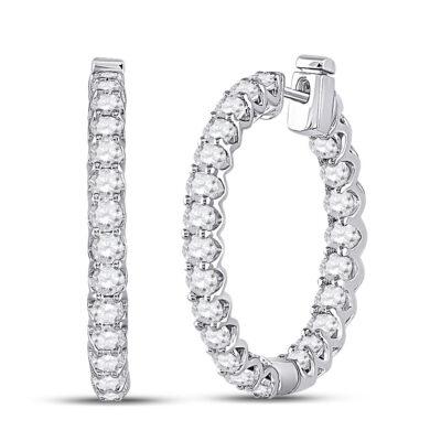 14kt White Gold Womens Round Diamond Hoop Earrings 3 Cttw