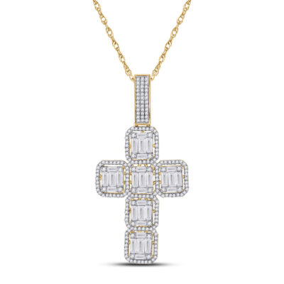 10kt Yellow Gold Mens Baguette Diamond Cross Charm Pendant 1-7/8 Cttw